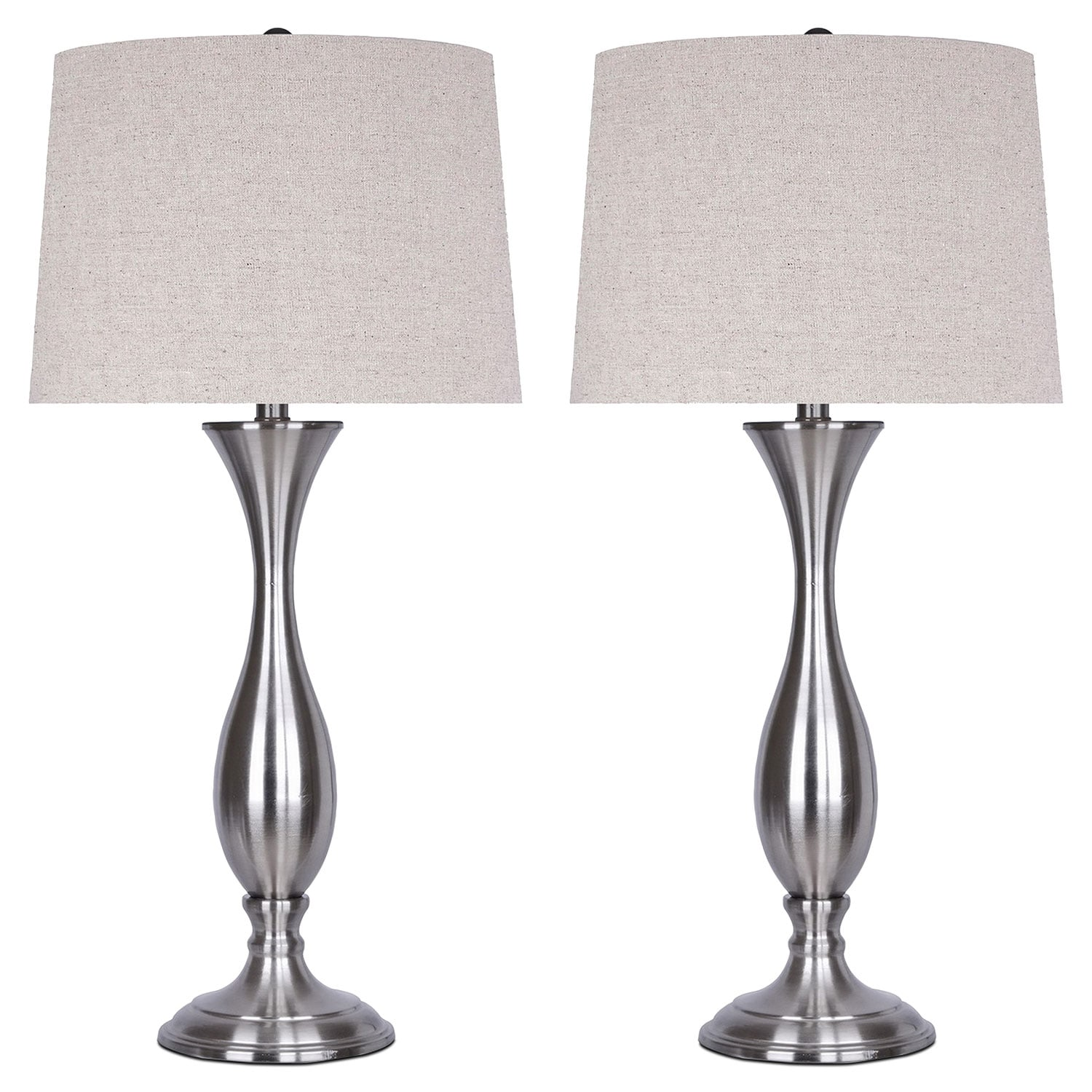 Home Accessories - Brushed Nickel 2-Piece Table Lamp Set