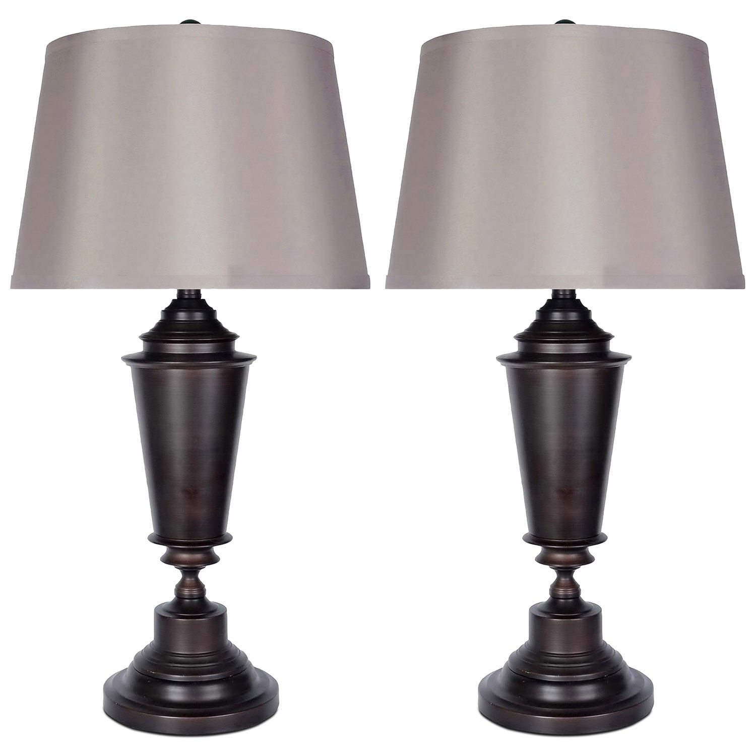Home Accessories - Oil-Rubbed Bronze 2-Piece Table Lamps Set with Silk Shade