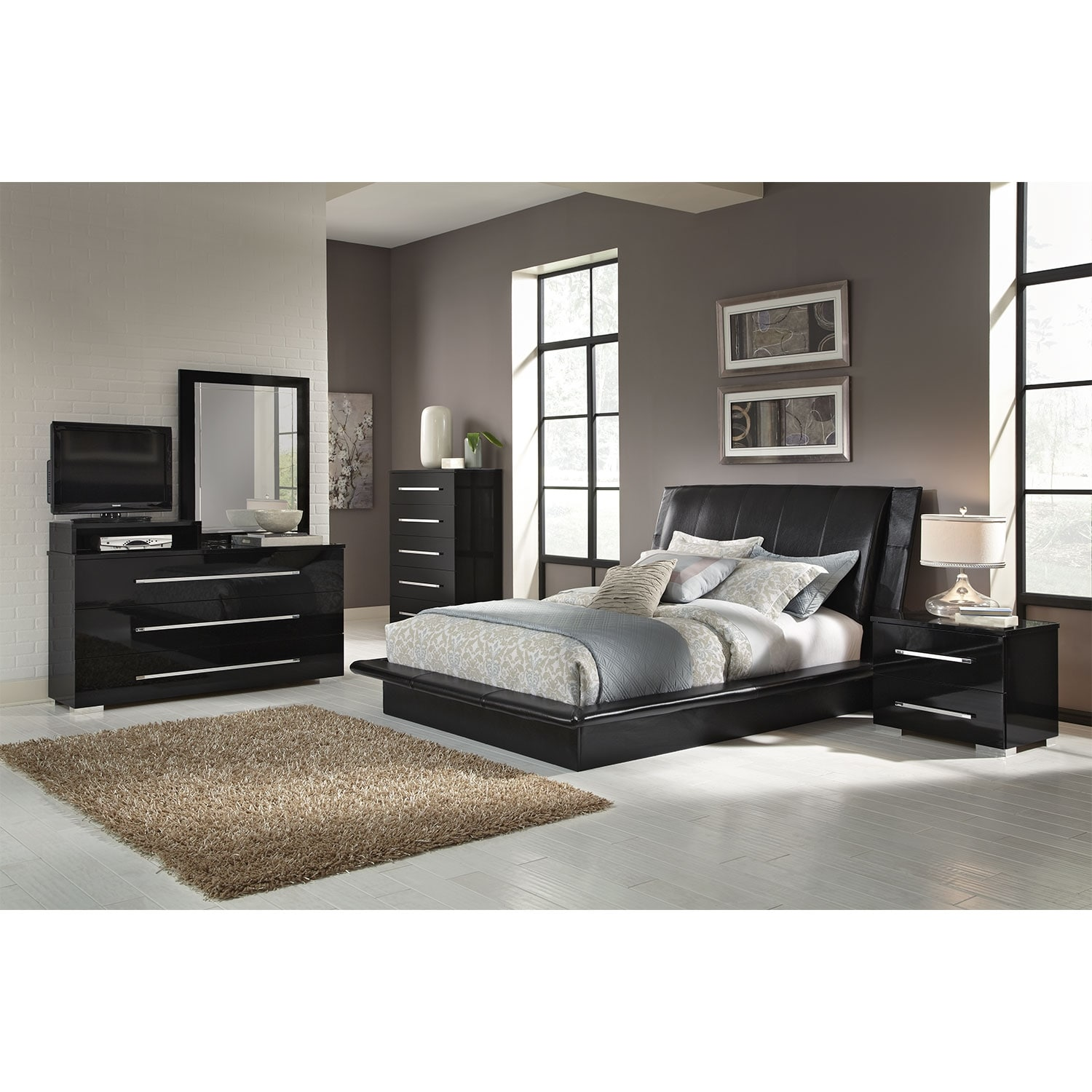 Dimora 7 piece king upholstered bedroom set with media for All black bedroom furniture