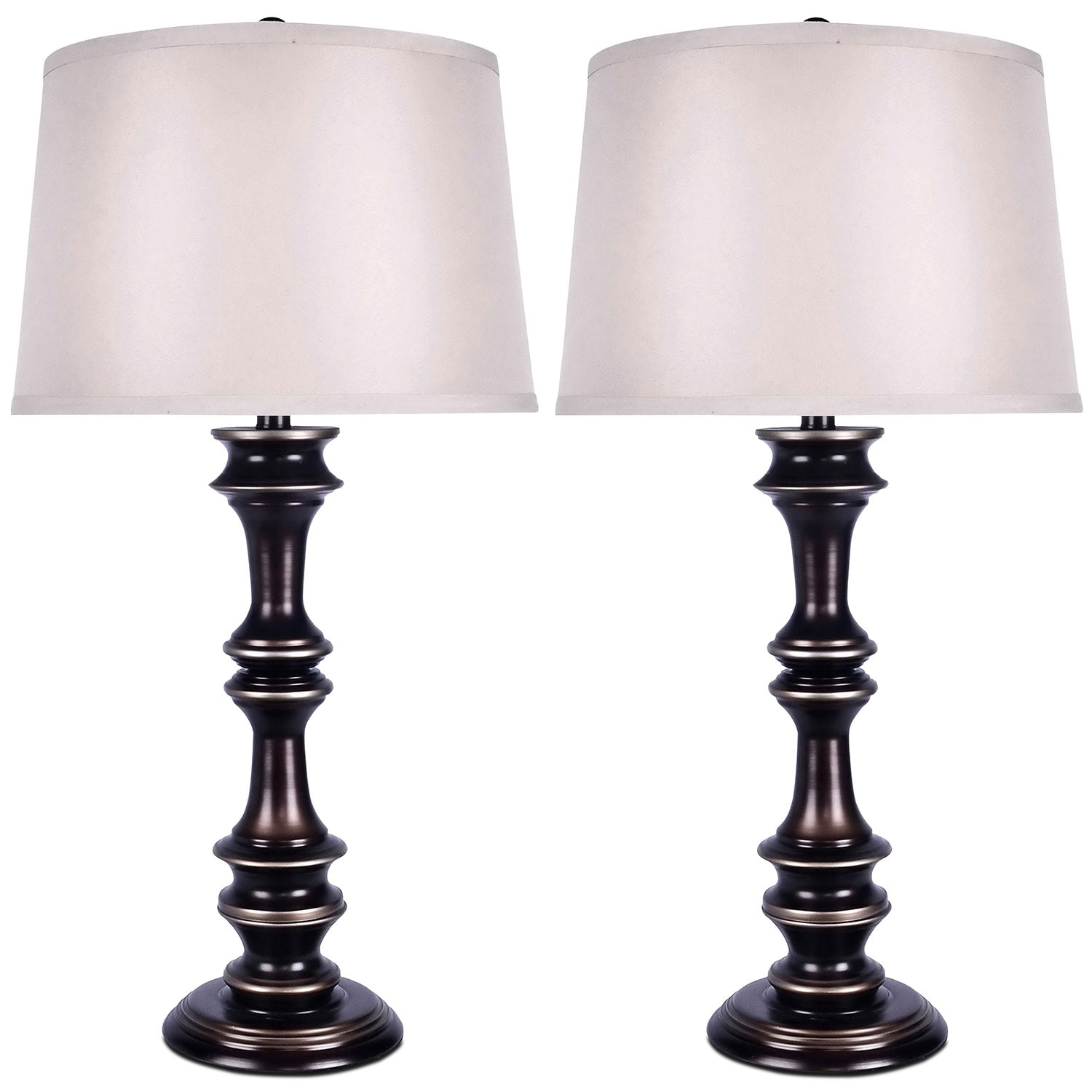 Home Accessories - Harbour Bronze 2-Piece Table Lamp Set