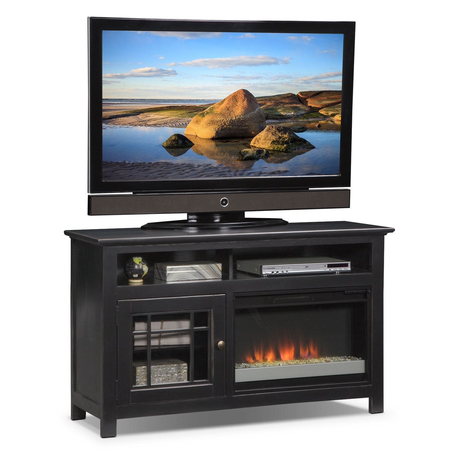 merrick 54 fireplace tv stand with contemporary insert black value city furniture. Black Bedroom Furniture Sets. Home Design Ideas
