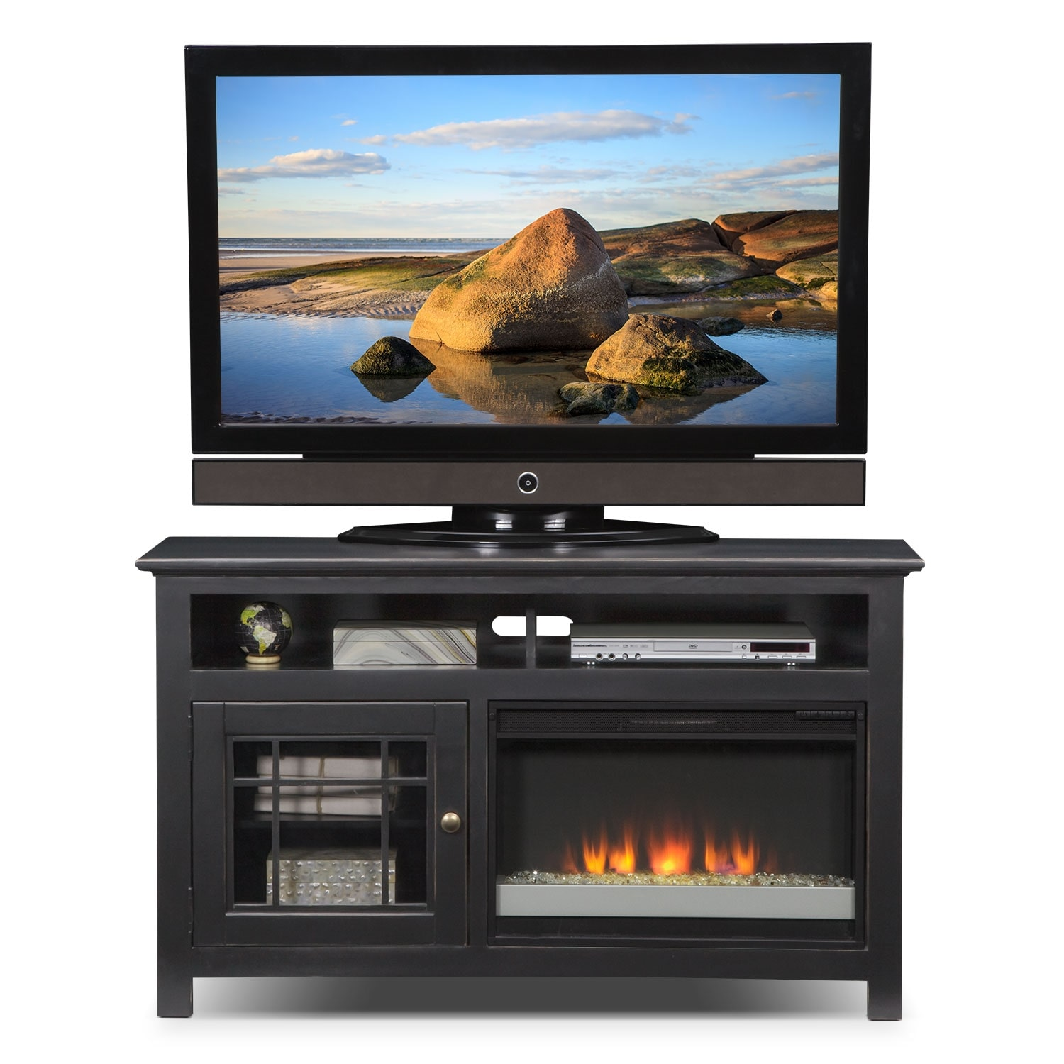merrick 54 fireplace tv stand with contemporary insert