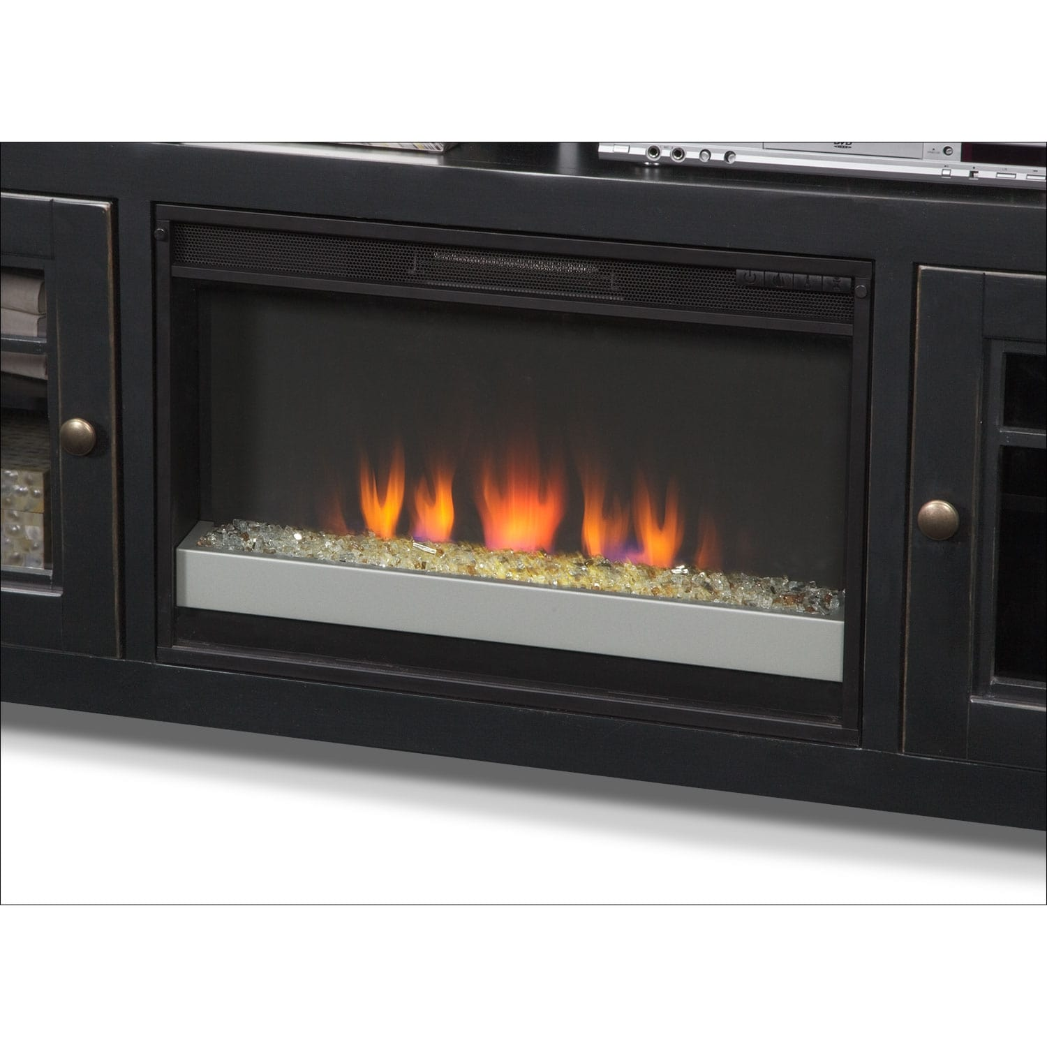 Merrick Black 74 Fireplace Tv Stand Value City Furniture