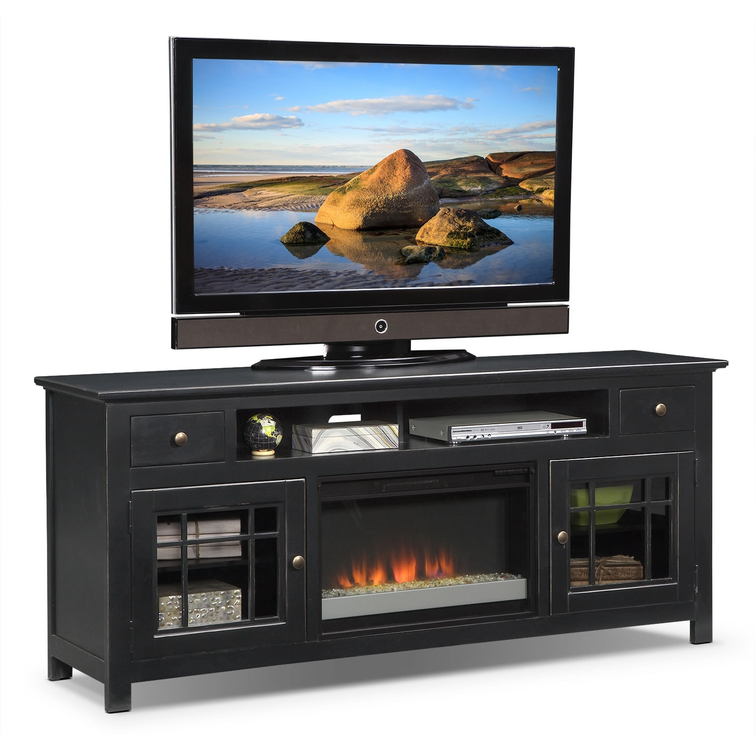 Merrick 74 Fireplace Tv Stand With Contemporary Insert Black Value City Furniture
