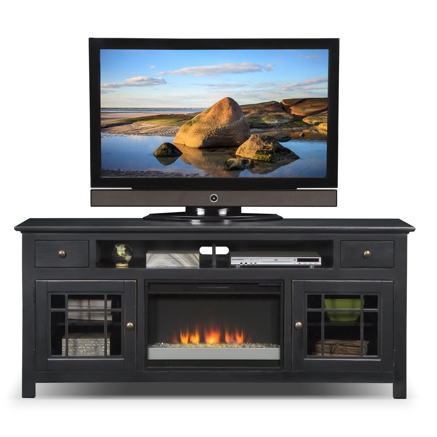 Merrick 74 Quot Fireplace Tv Stand With Contemporary Insert