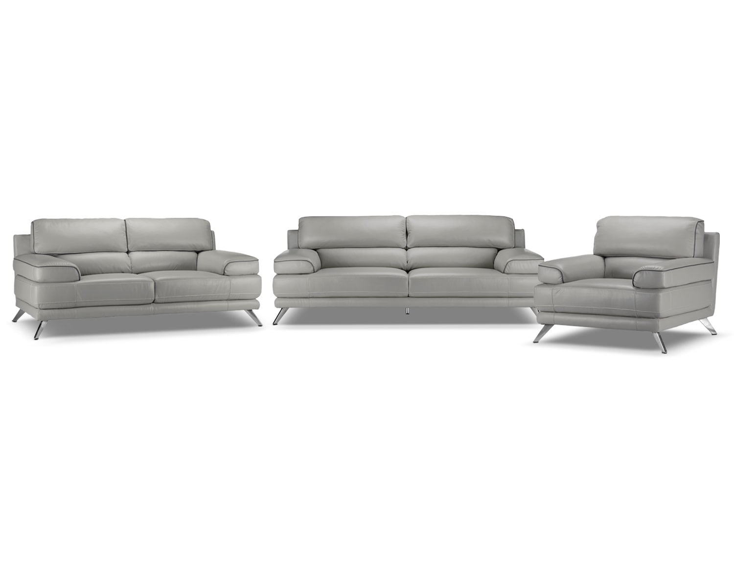 Sutton Sofa, Loveseat and Chair Set - Grey