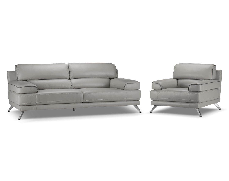 Sutton Sofa and Chair Set - Grey
