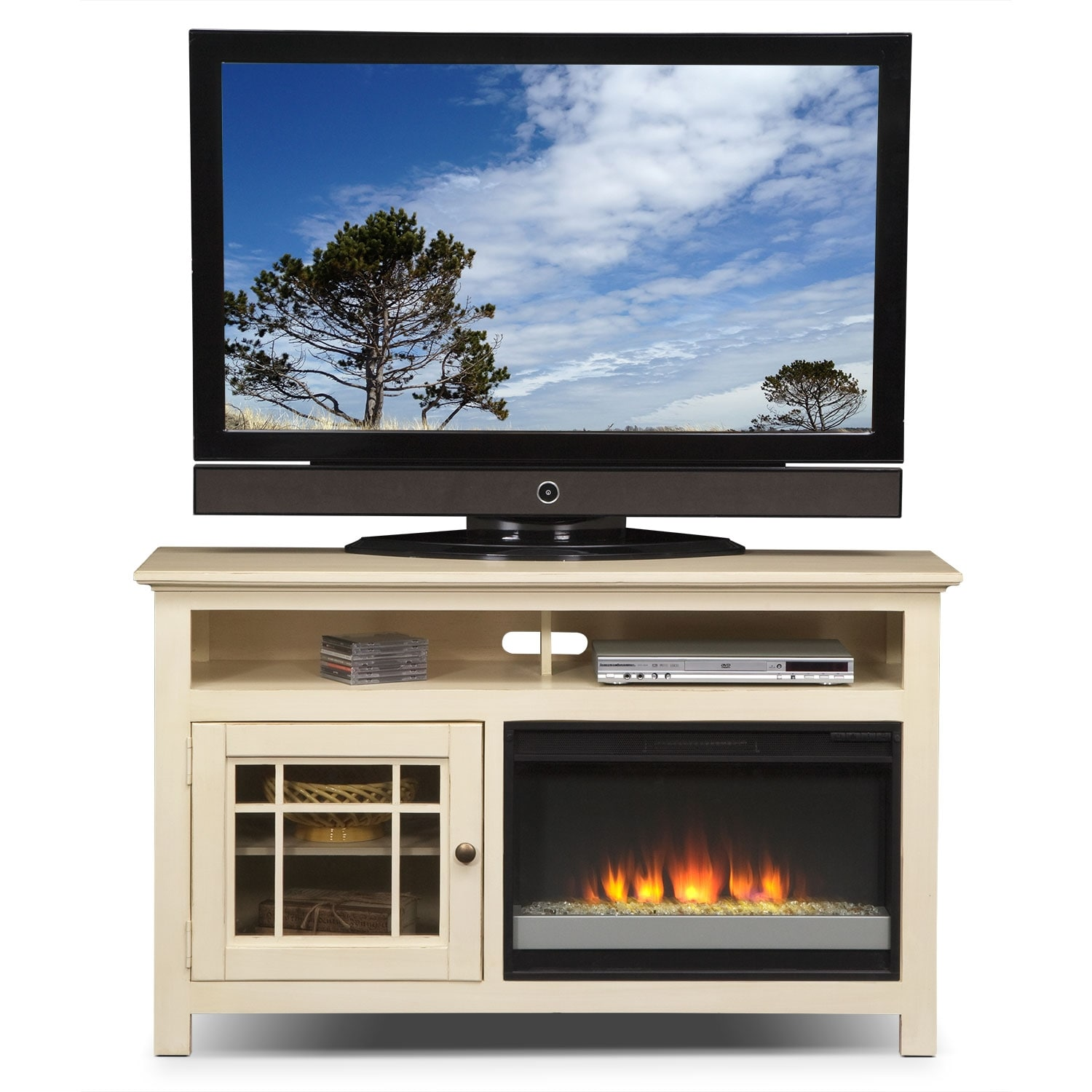 Merrick 54 Fireplace Tv Stand With Contemporary Insert White Value City Furniture