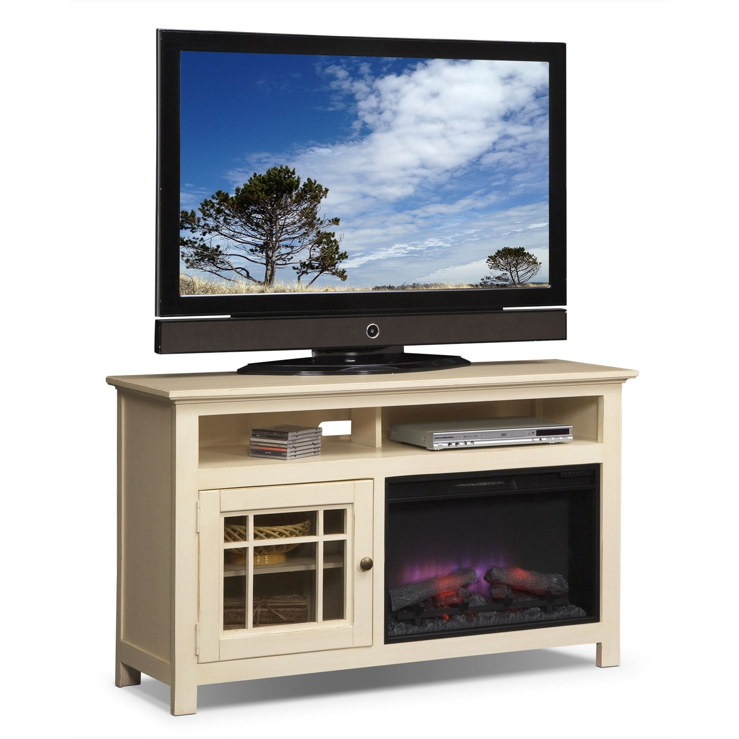"""[Merrick White 54"""" Fireplace TV Stand with Traditional Insert]"""
