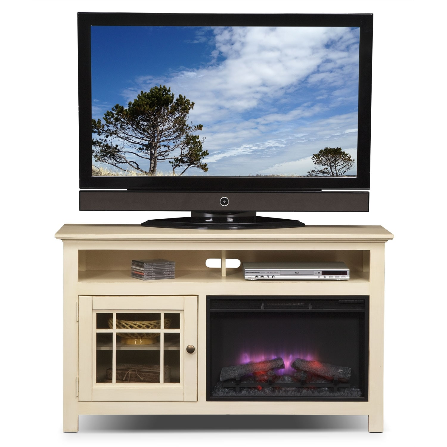 Merrick 54 Fireplace Tv Stand With Traditional Insert White Value City Furniture