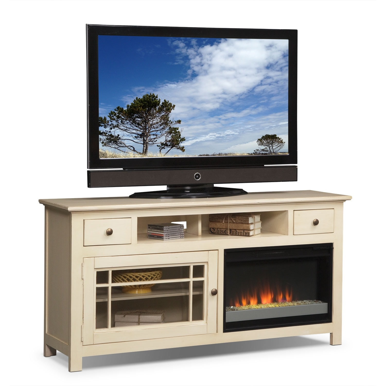 """Merrick White 74"""" Fireplace TV Stand with Contemporary"""
