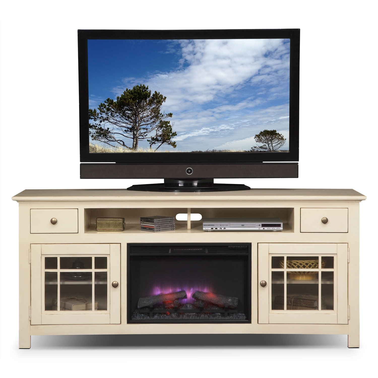 Merrick White 74 Quot Fireplace Tv Stand Value City Furniture