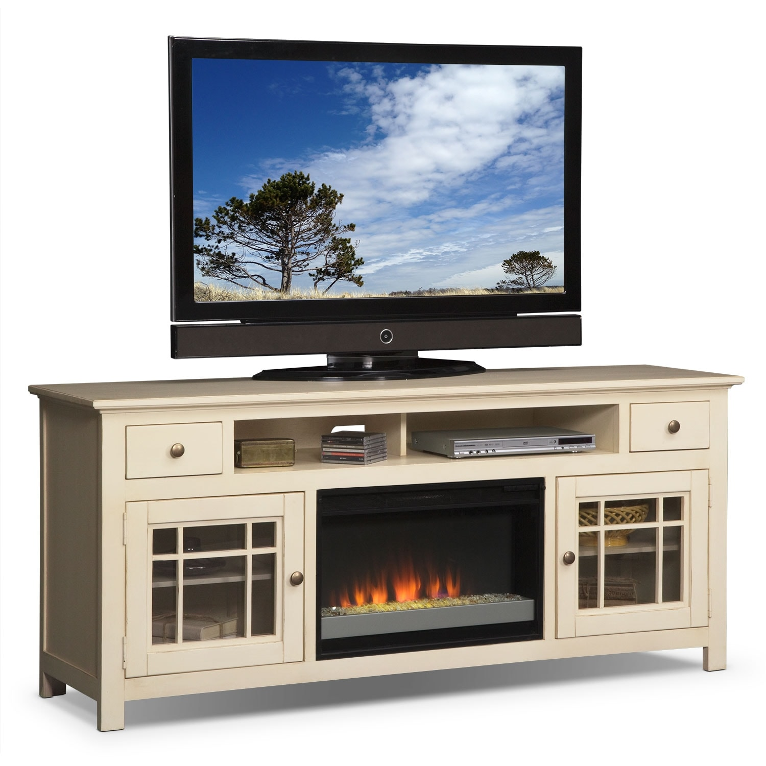 Merrick 74 Fireplace Tv Stand With Contemporary Insert White American Signature Furniture