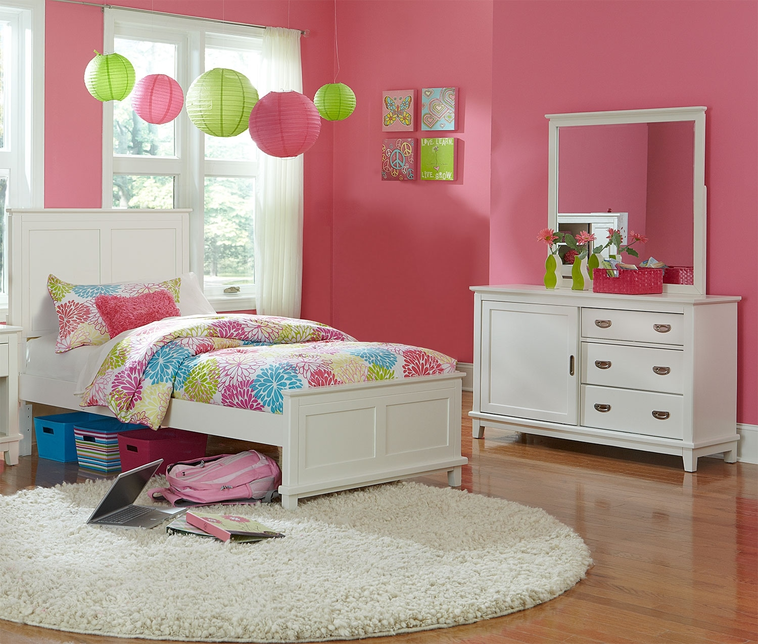 Kids Furniture - Chadwick Twin 5-Piece Bedroom Package - White