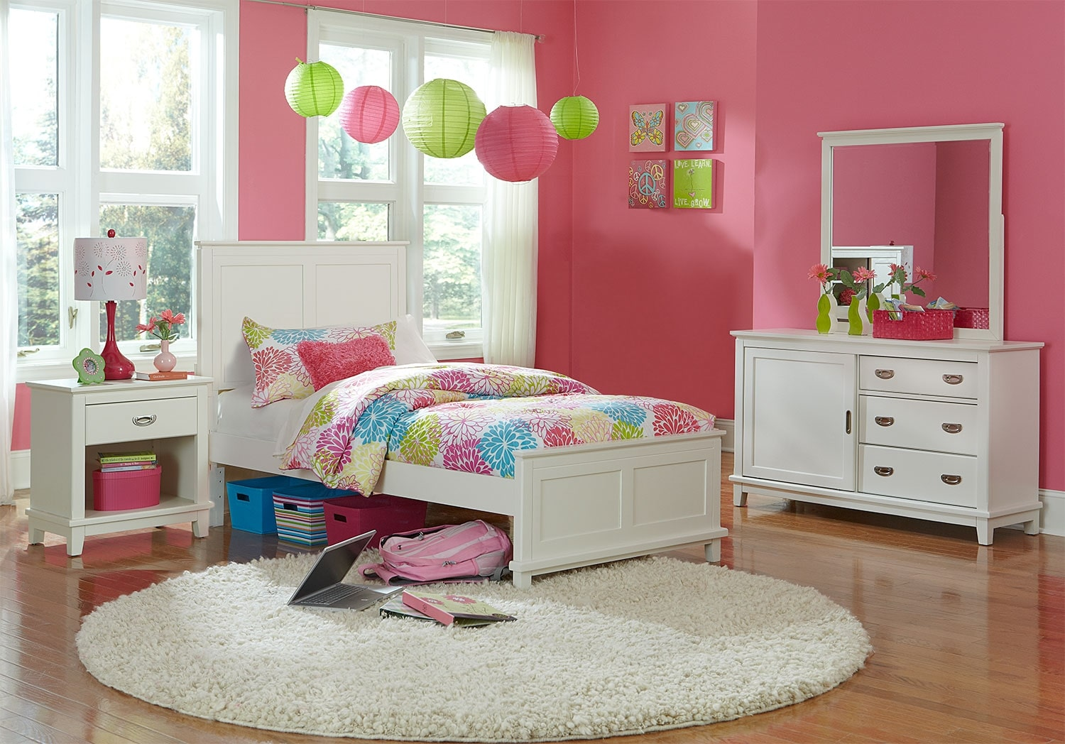 Kids Furniture - Chadwick Twin 6-Piece Bedroom Package - White