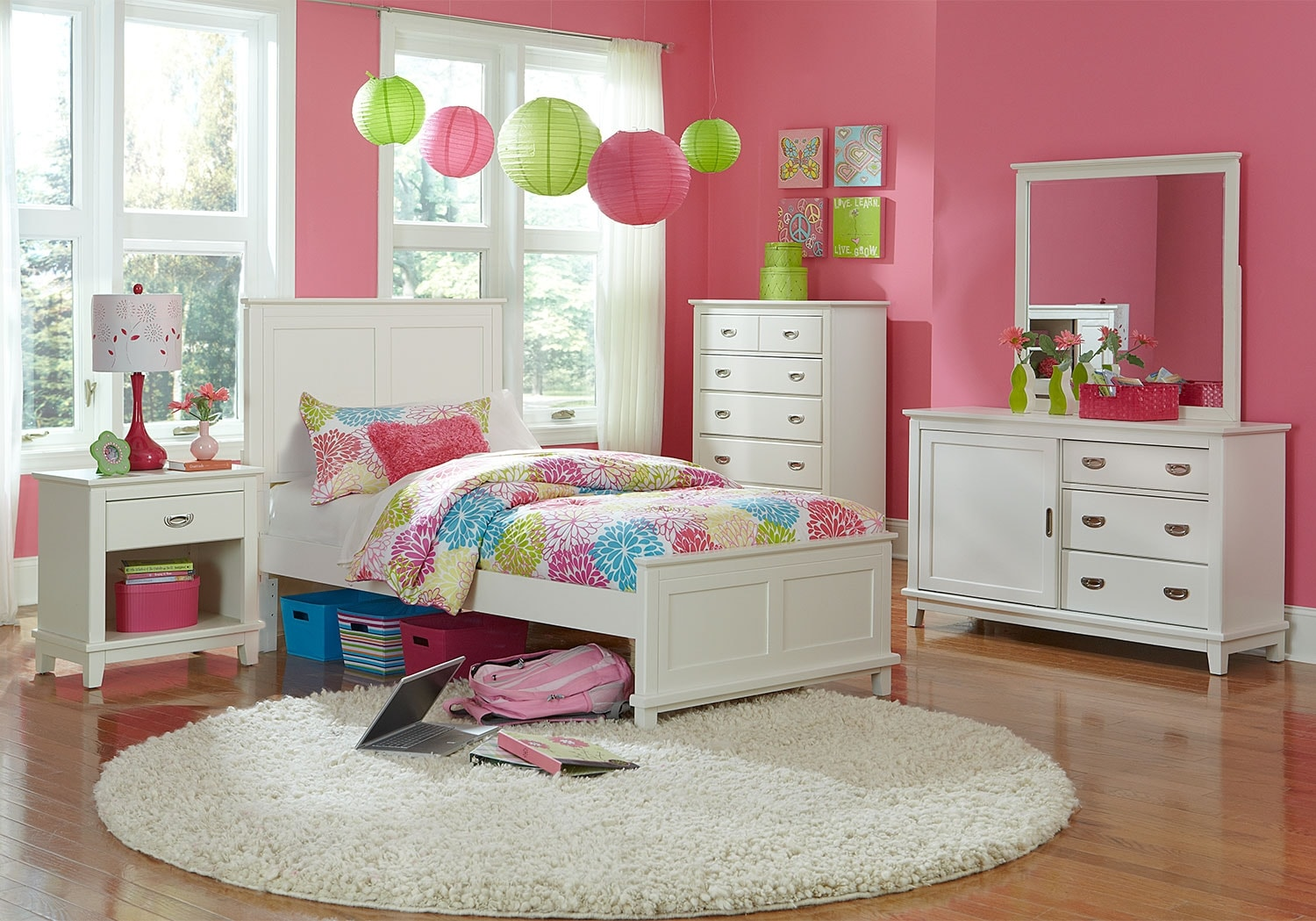 Kids Furniture - Chadwick Twin 8-Piece Bedroom Package - White
