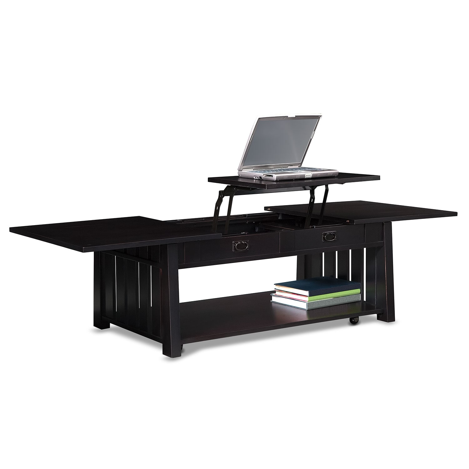 Tribute lift top cocktail table black value city furniture Black lift top coffee tables