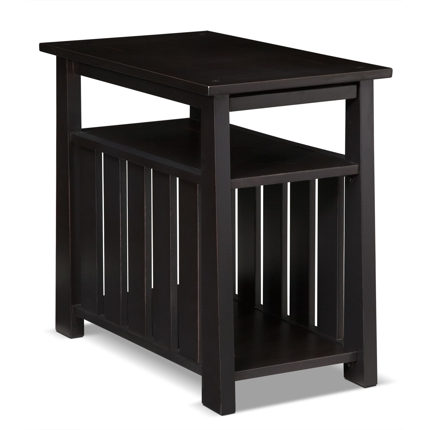 Tribute chairside table black value city furniture for Black living room end tables
