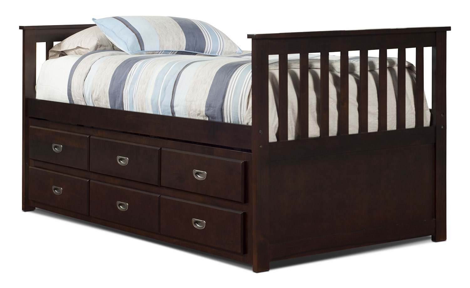 Chadwick twin captain s bed espresso united furniture for Captains bed