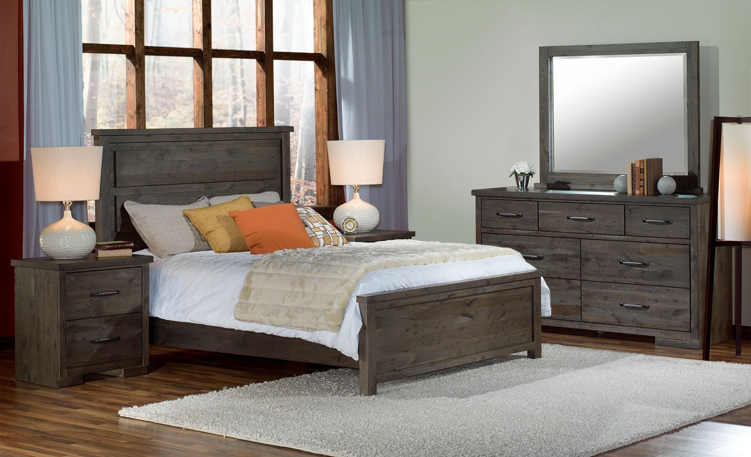 Pine ridge 5 piece queen bedroom set slate leon 39 s for Queen furniture set
