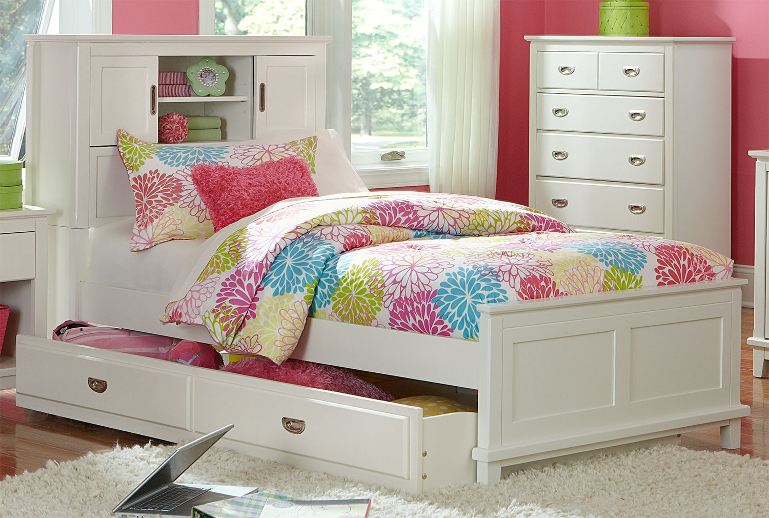 Chadwick twin bookcase bed white the brick for Girls white twin bed