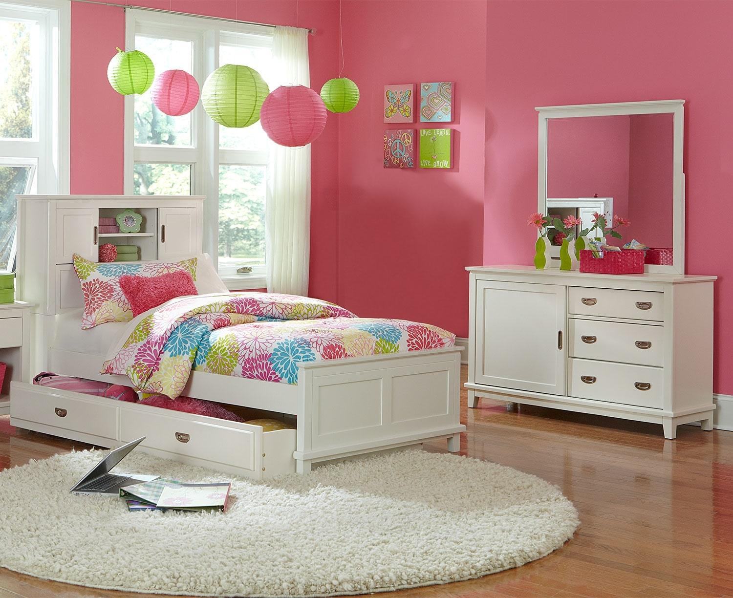 Kids Furniture - Chadwick Twin 5-Piece Bookcase Bedroom Package - White