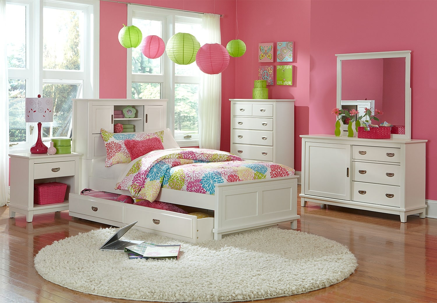 Kids Furniture - Chadwick Twin 7-Piece Bookcase Bedroom Package - White