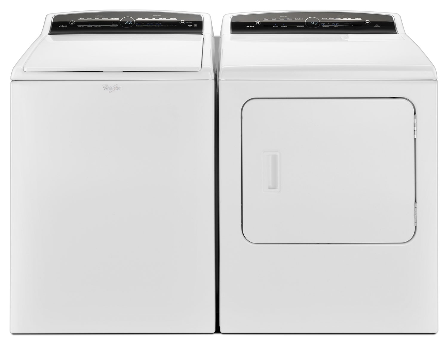 Washers and Dryers - Whirlpool® Cabrio® 5.0 Cu. Ft. Top-Load Washer and 7.0 Cu. Ft. Electric Dryer - White