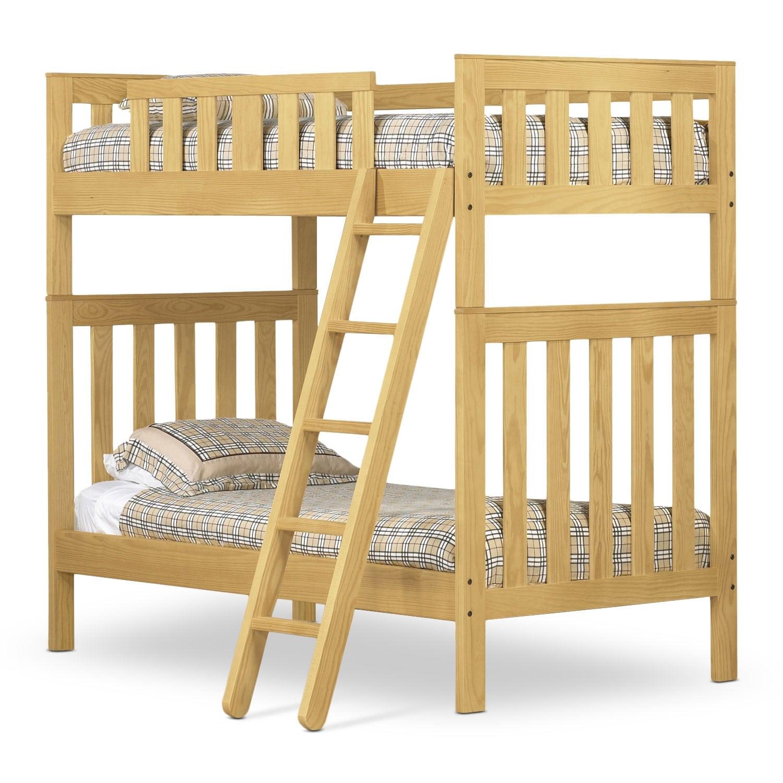Kids Furniture - Taylor Twin Bunk Bed - Golden Oak