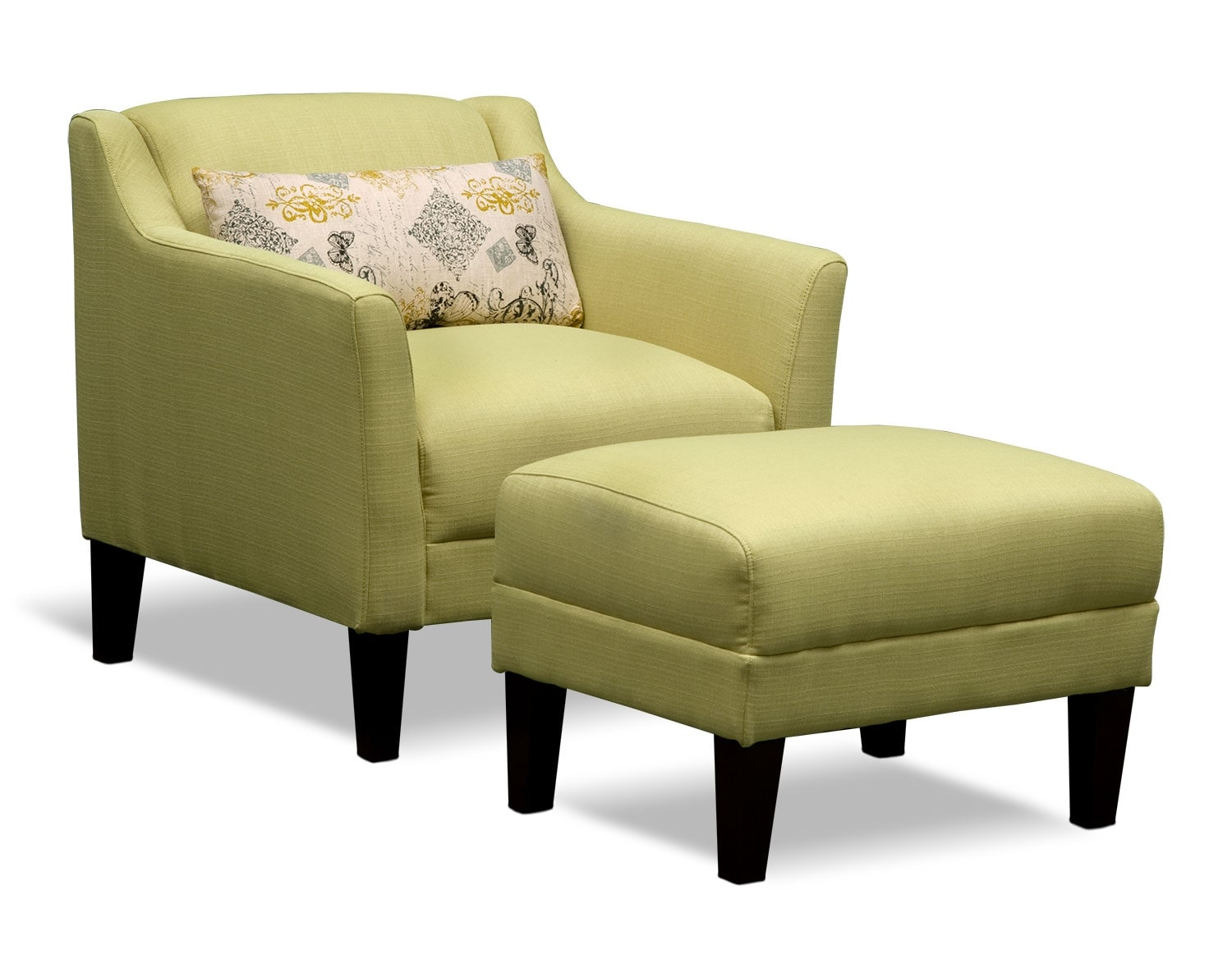 Living Room Furniture - The Bowen Collection - Accent Chair and Ottoman