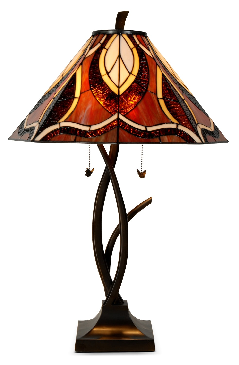 Teslatier Table Lamp with Stained Glass Shade