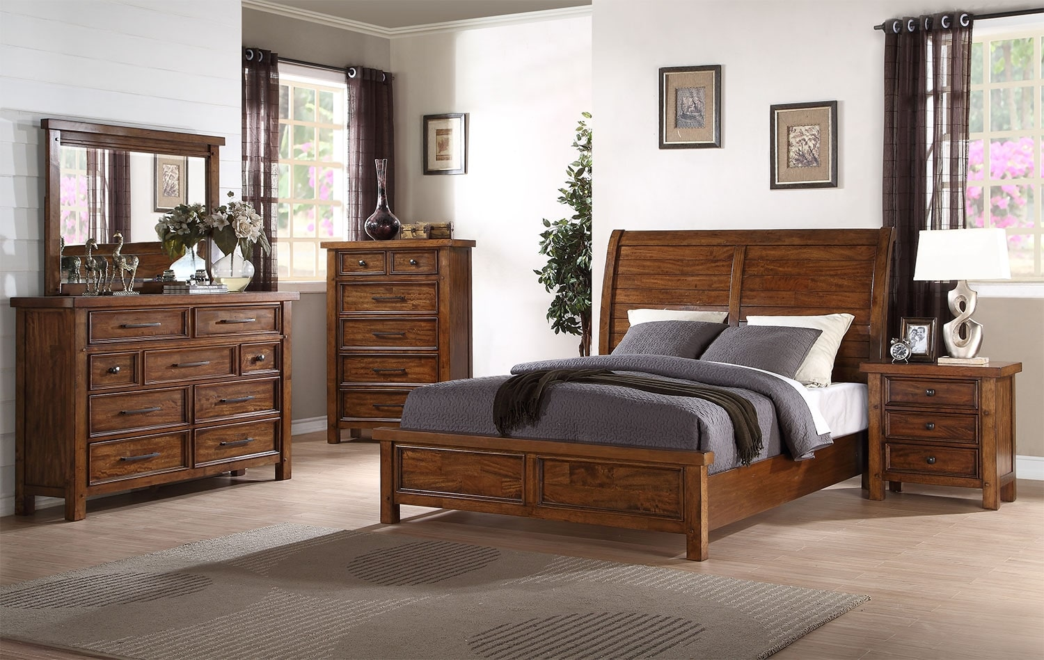 Bedroom Furniture - Sonoma 7-Piece King Bedroom Package – Medium Brown