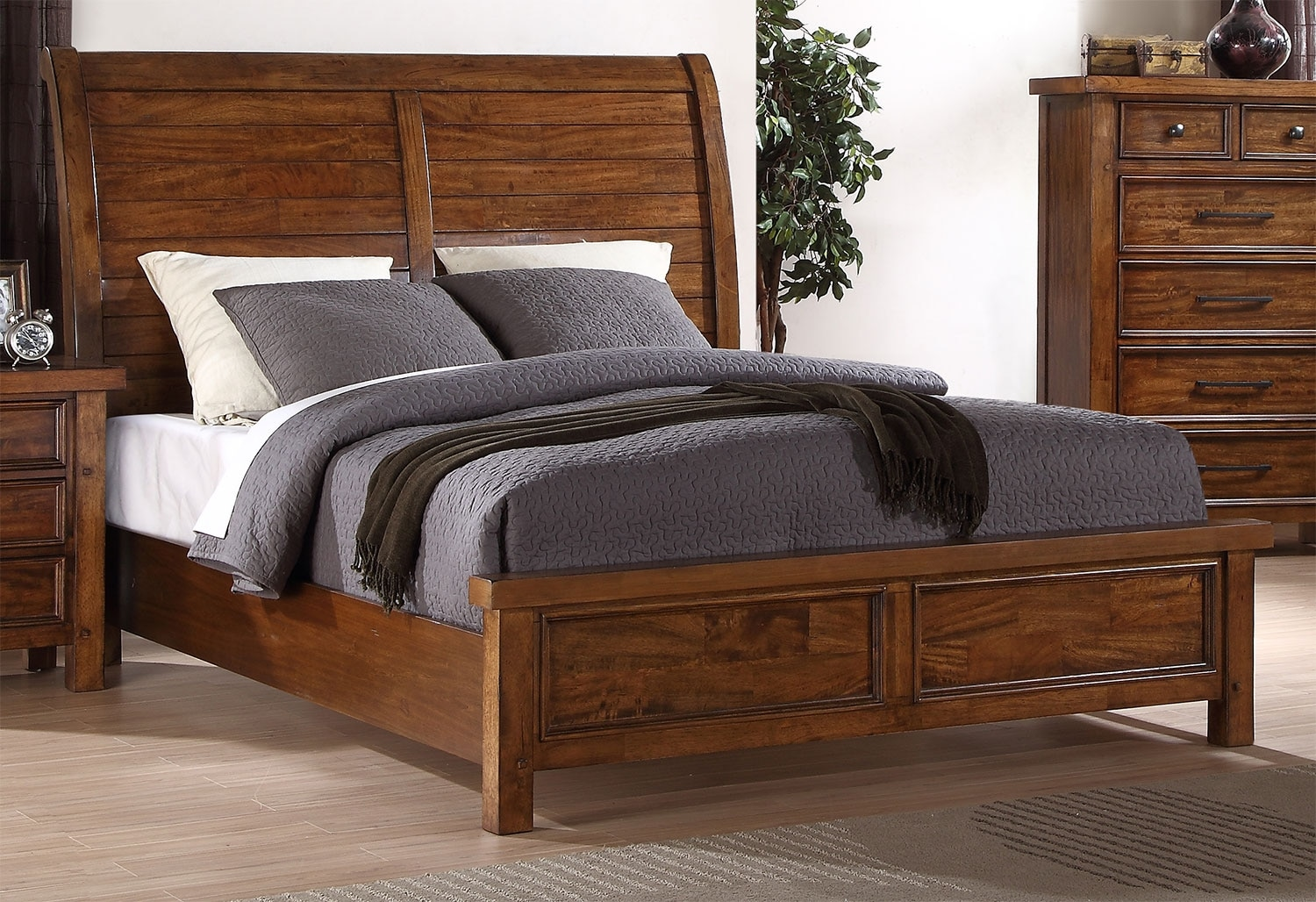 Bedroom Furniture - Sonoma Queen Sleigh Bed – Light Brown