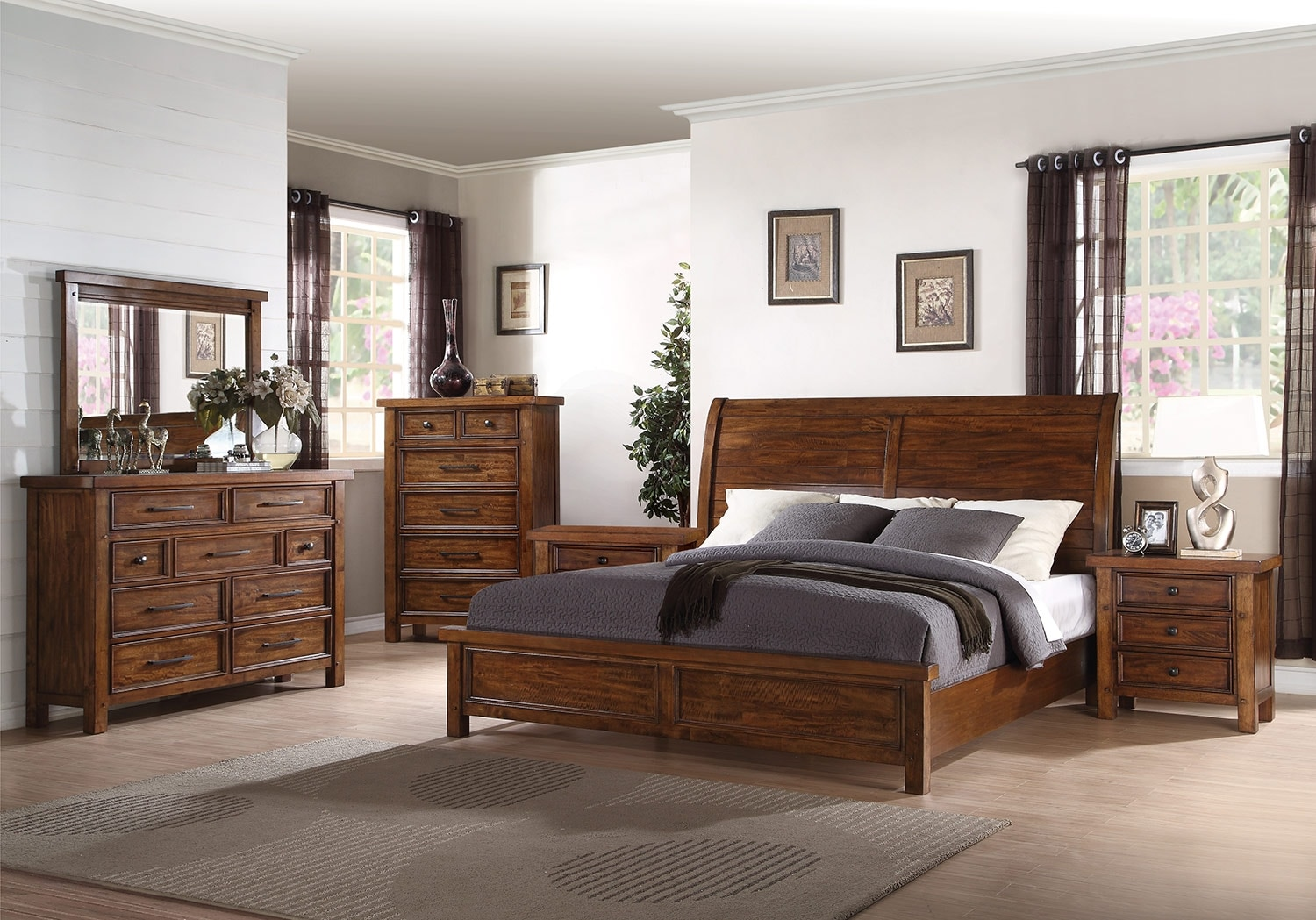Bedroom Furniture - Sonoma 8-Piece Queen Bedroom Package – Medium Brown