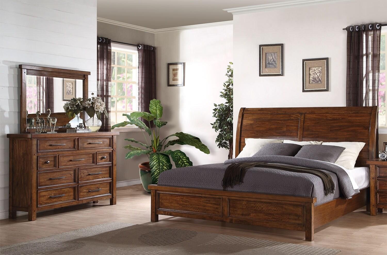 sonoma 5 piece queen bedroom package medium brown