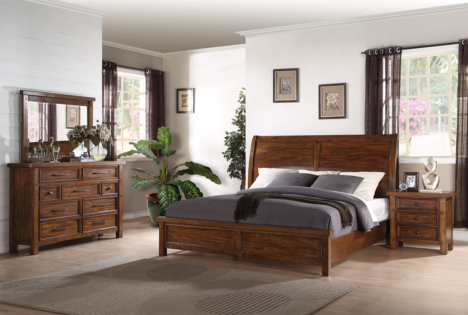 Bedroom Furniture - Sonoma 6-Piece Queen Bedroom Package – Medium Brown