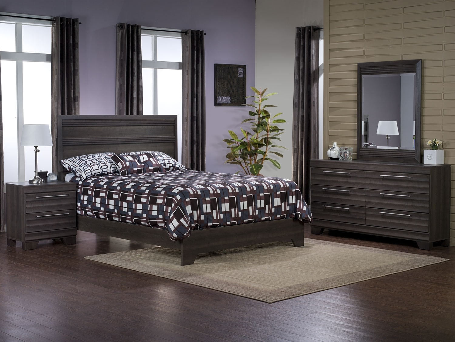 Bedroom Furniture - Olivia 6-Piece Queen Bedroom Package – Grey