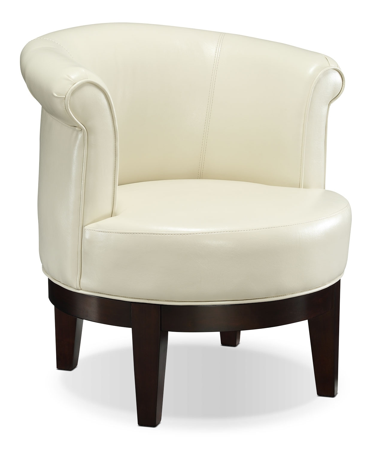 Living Room Furniture - Lino Bonded Leather Swivel Accent Chair –Cream