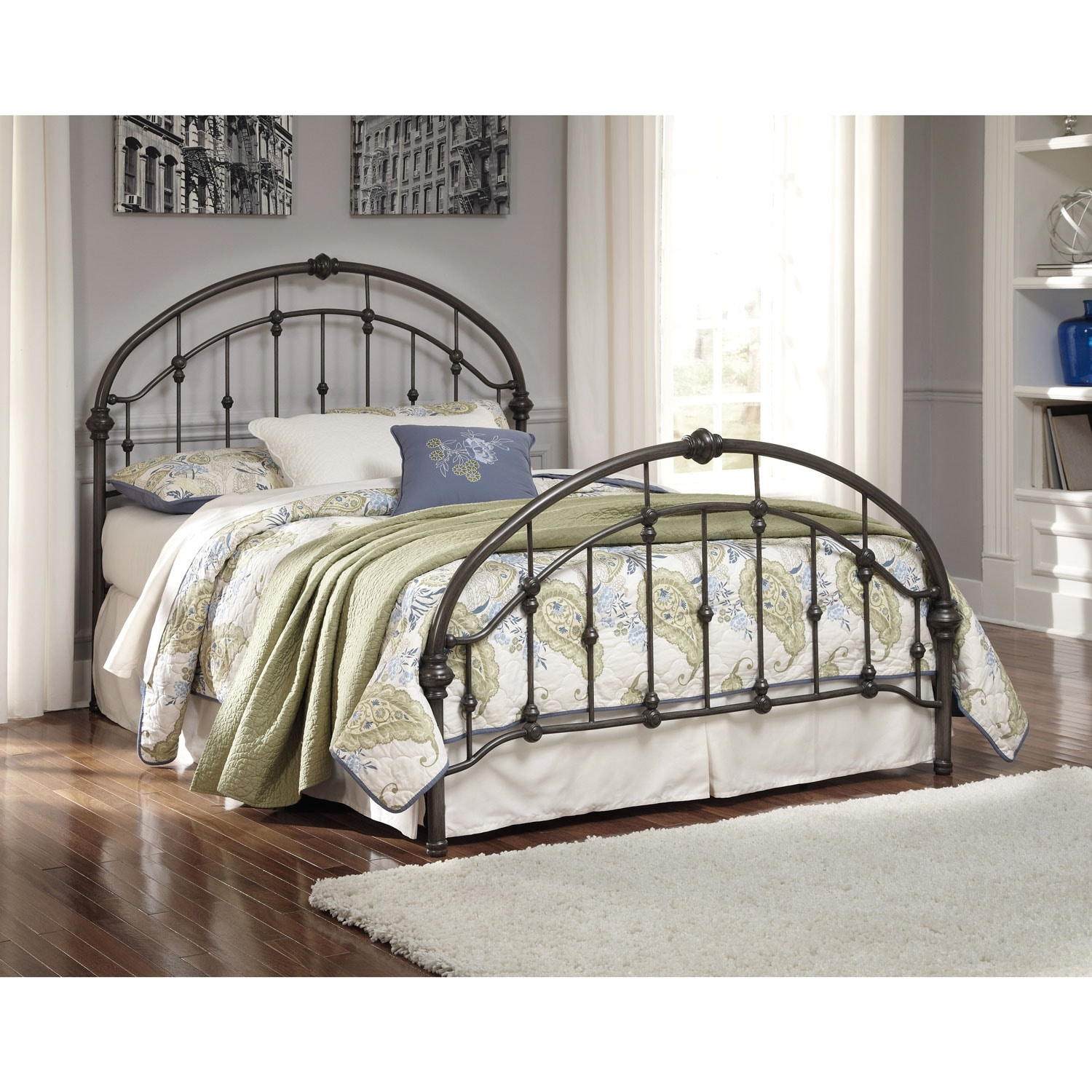 Nashburg queen metal headboard bronze the brick for Metal bedroom furniture