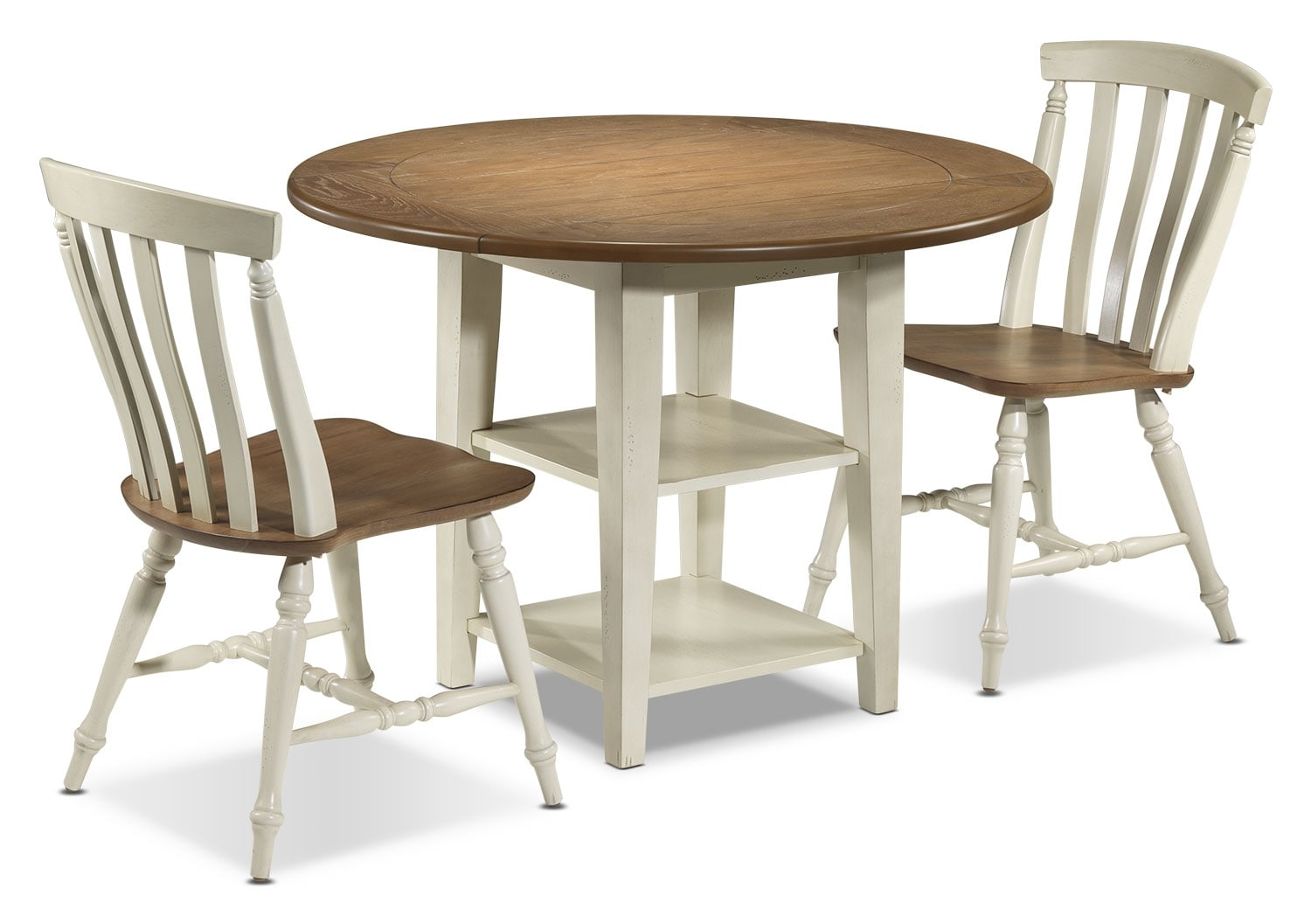 Fresco 3 piece dinette set driftwood cream leon 39 s for Furniture 3 room package