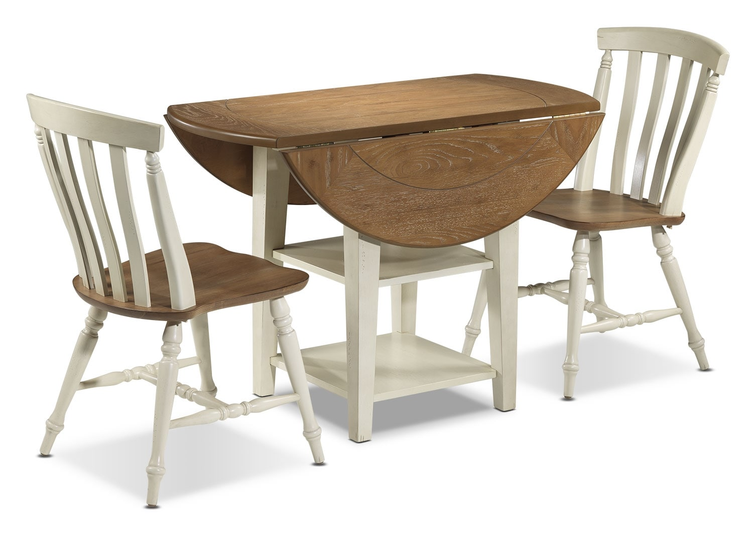 Fresco 3 piece dinette set driftwood cream leon 39 s for 3 piece dining room set