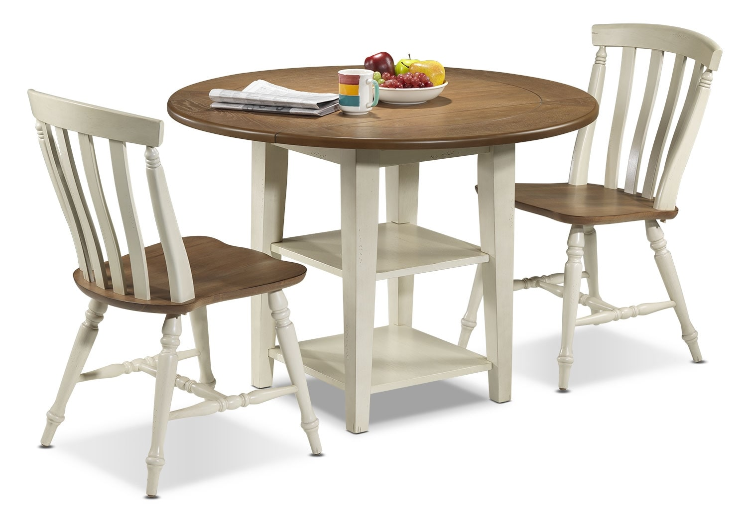 Casual Dining Room Furniture - Fresco 3-Piece Dinette Set - Driftwood, Cream