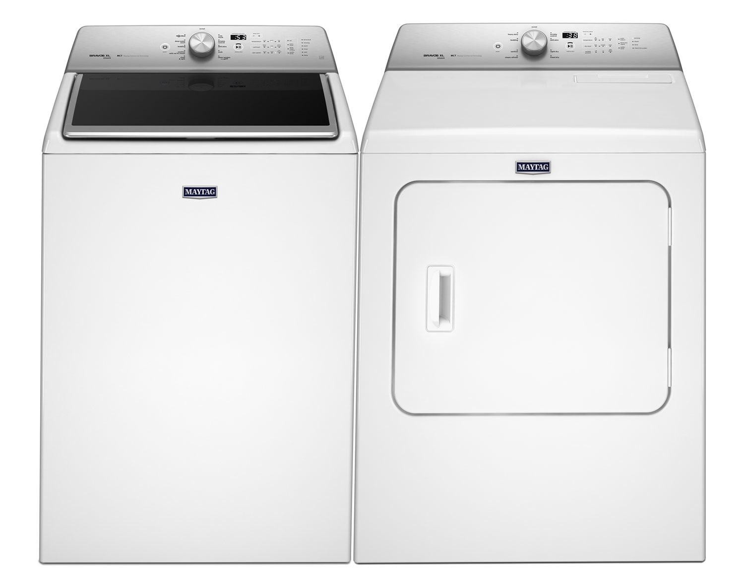 Washers and Dryers - Maytag® 6.1 Cu. Ft. Top-Load Washing Machine and 7.0 Cu. Ft. Steam Electric Dryer - White