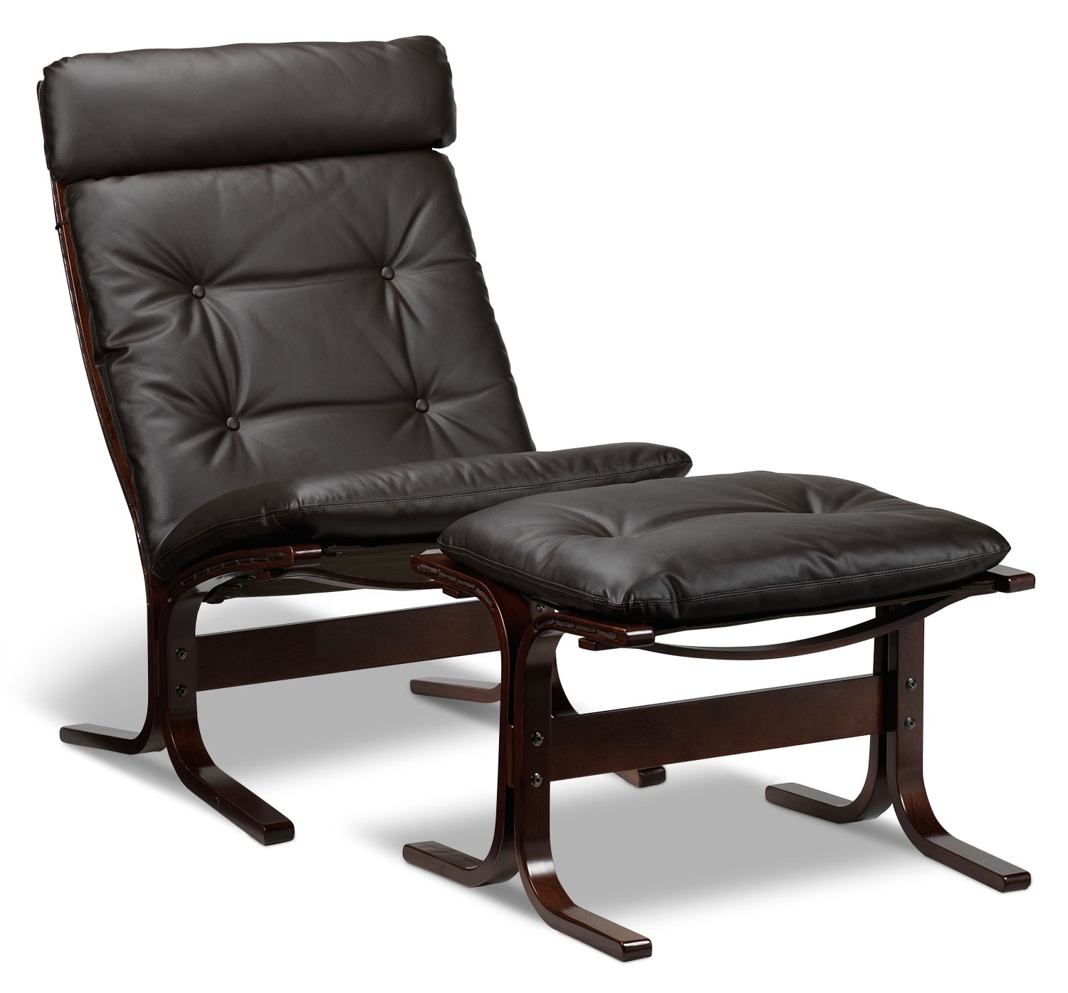 Living Room Furniture - Carey Chair and Ottoman - Espresso