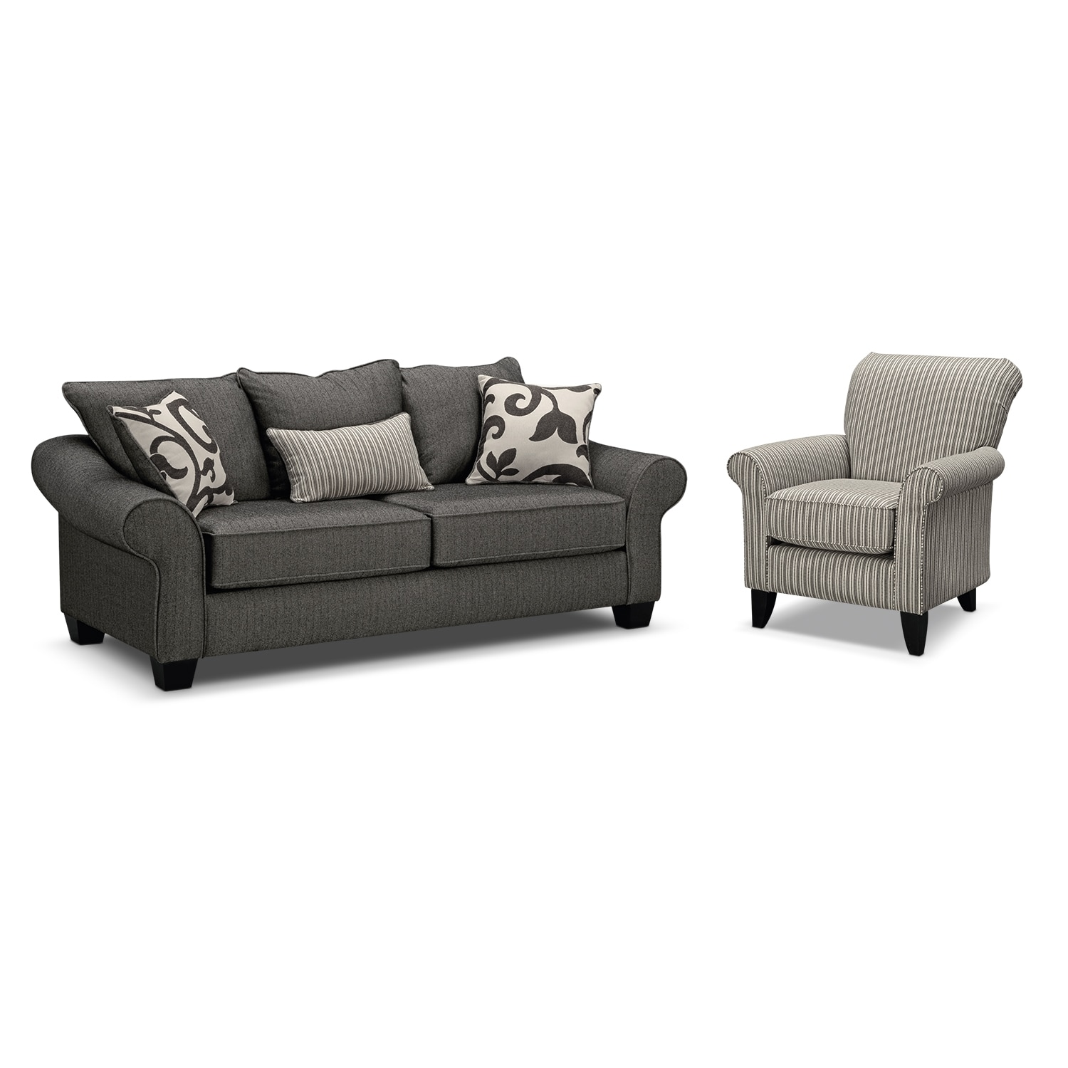 furniture colette full memory foam sleeper sofa and accent chair set