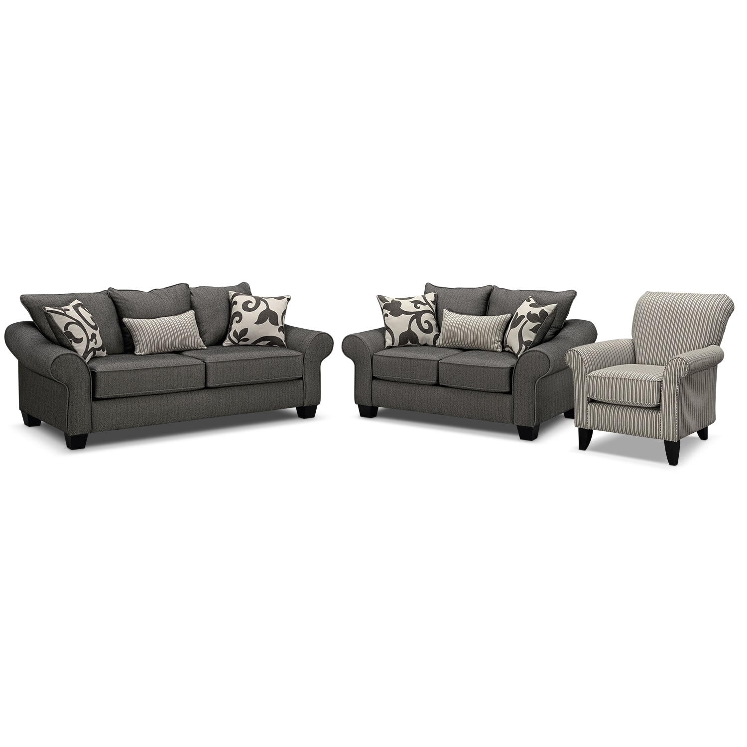 Colette Gray 3 Pc Sleeper Living Room With Accent Chair