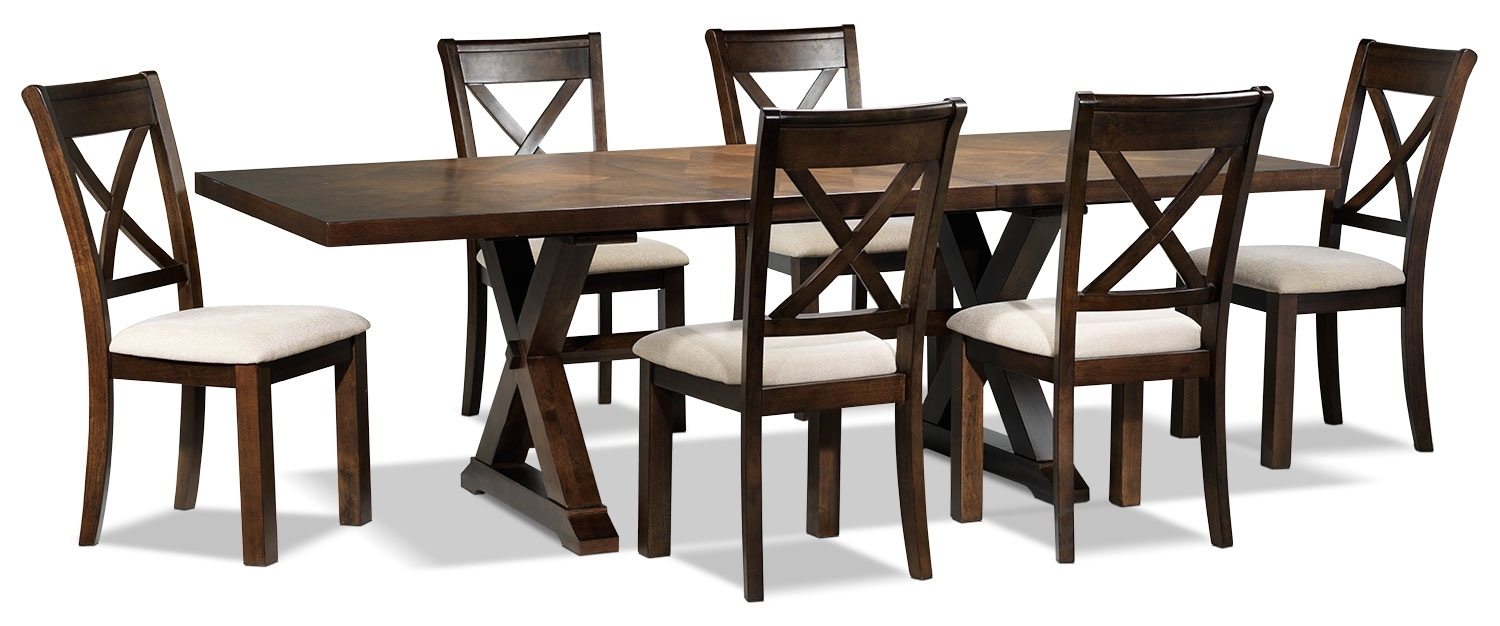 claira piece dining room set  rustic brown  leon's -  piece dining room set  rustic brown hover to zoom