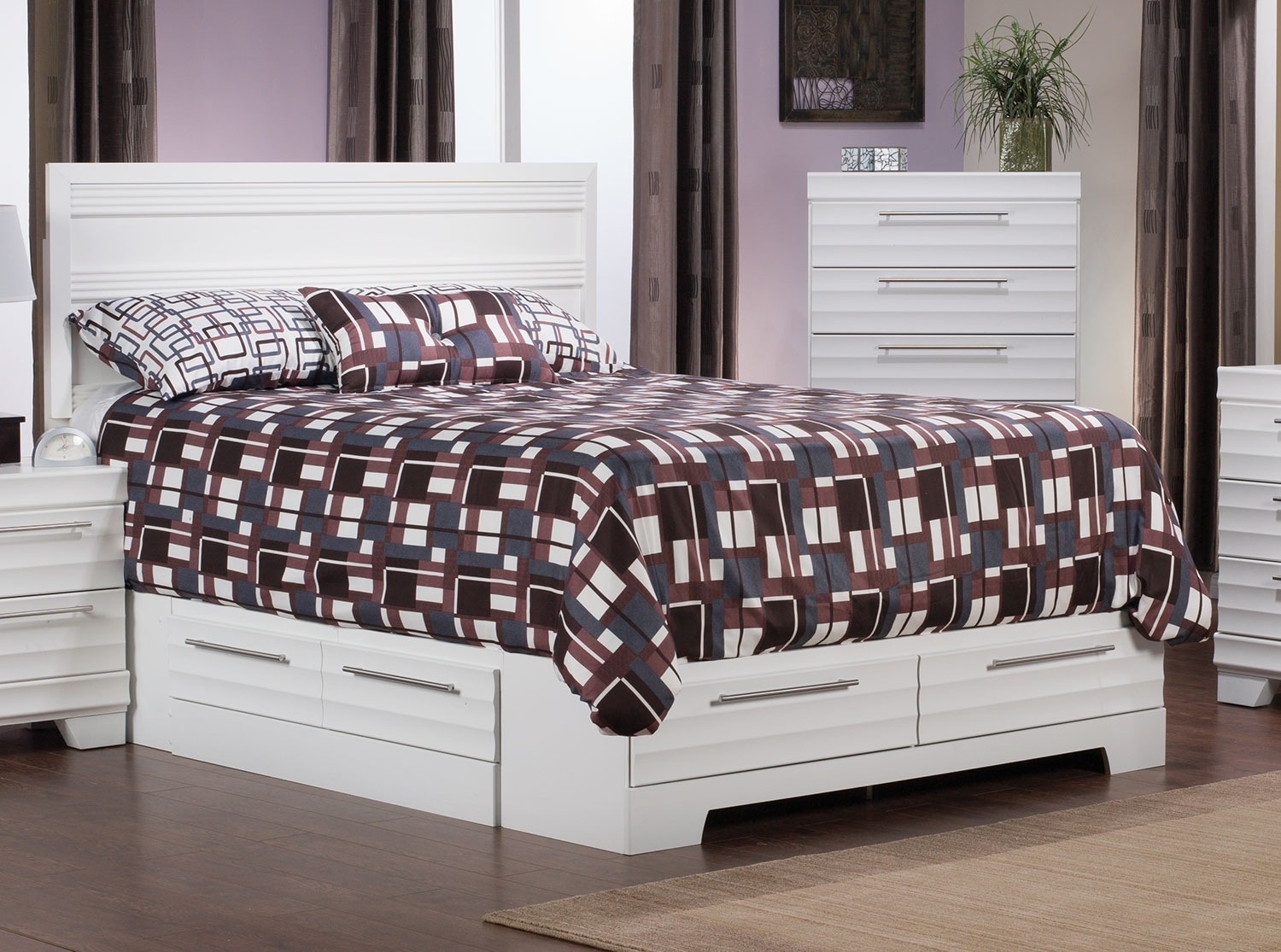 Bedroom Furniture - Olivia Queen Storage Bed – White
