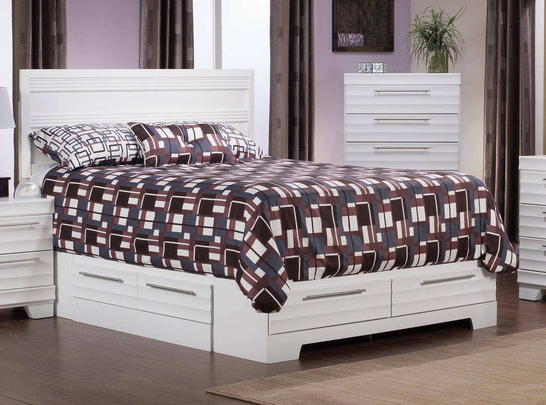 Bedroom Furniture - Olivia Full Storage Bed – White