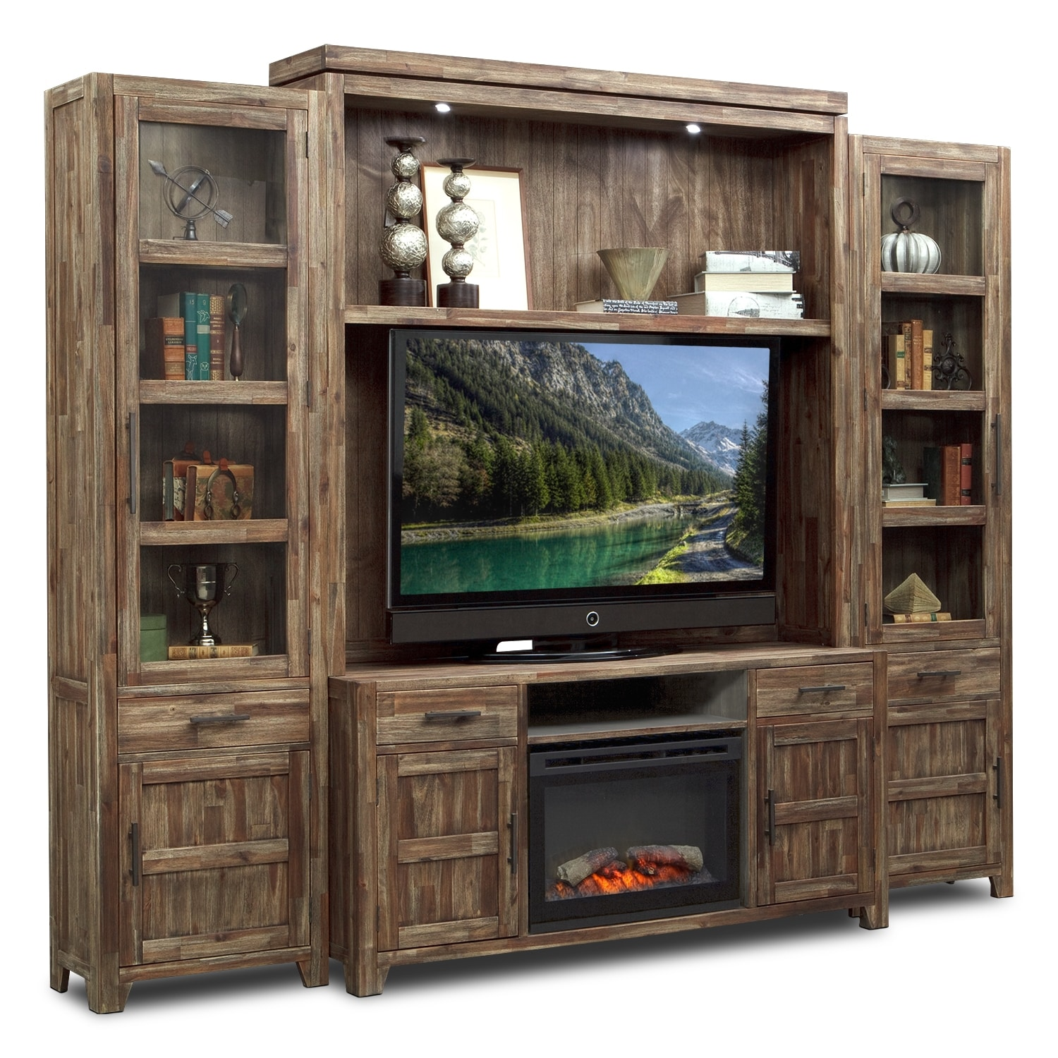 Hutchinson 5 Pc Entertainment Wall Unit With Traditional Fireplace Furnitu